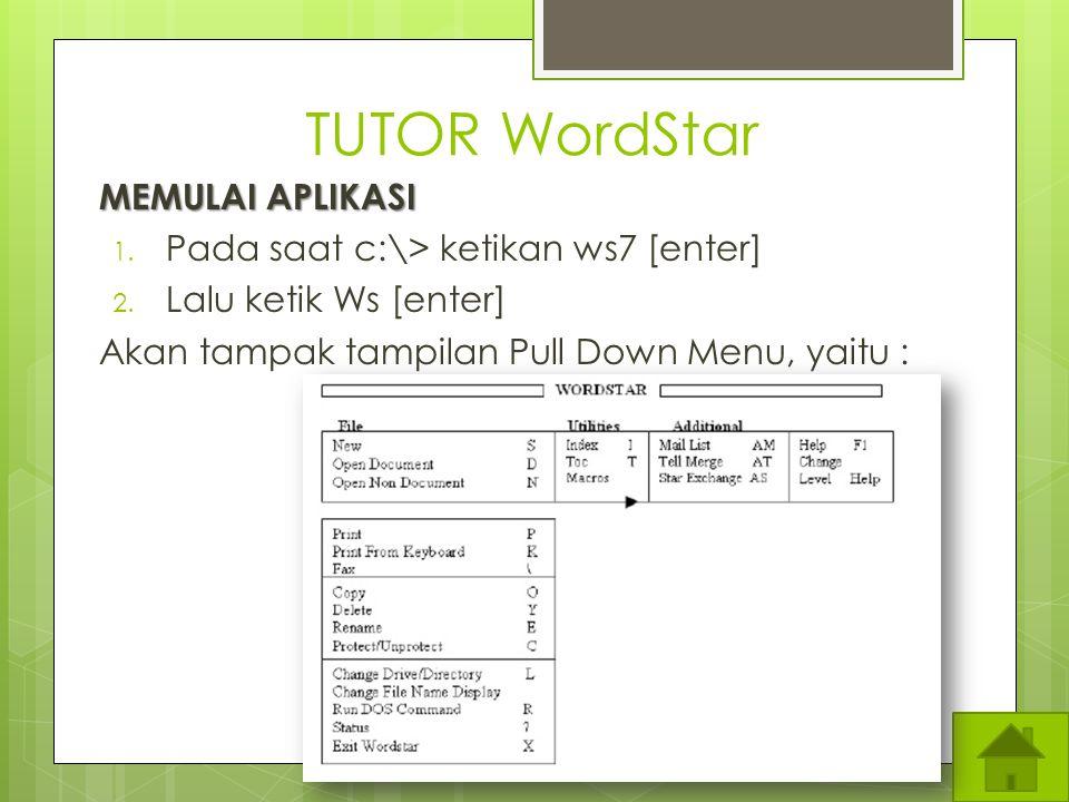 TUTOR WordStar MEMULAI APLIKASI Pada saat c:\> ketikan ws7 [enter]